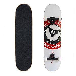 Skate Completo Black Sheep Profissional Logo Branco 8.0 - Com Roda Importada EMEX