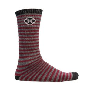 Meia Independent Cano Longo Printed Stripe Cinza / Bordo