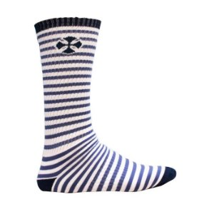 Meia Independent Cano Longo Printed Stripe Branca / Azul