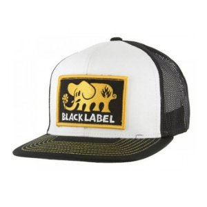 Bone Black Label Elephant Patch Trucker Black White