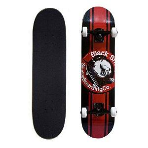 Skate Completo Black Sheep Profissional Logo Vermelho Preto 8.0