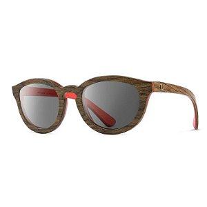 Óculos de Madeira Notiluca Linho Marrom Zebrado / Vermelho