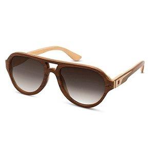 Óculos de Madeira Notiluca Brigadeiro Pq Imbuia Marfim