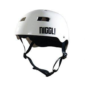 Capacete Profissional Niggli Pads Iron Branco Brilhante