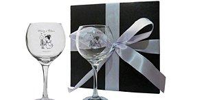 Kit 2 Taças de vidro para vinho modelo Celebra-PERSONALIZADO