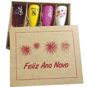 Kit 4 taças em PS Ano Novo - MDF