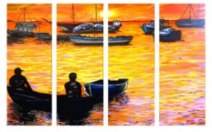 Painel em óleo - Marina ao poente - 91,50 x 136 cm