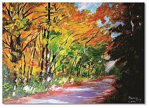 Pintura original em óleo - Caminho na floresta - 61 x 85 cm
