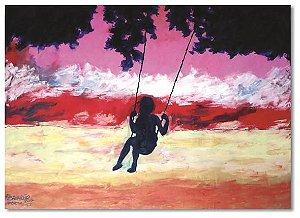 Pintura original em óleo - Balanço - 61 x 85 cm