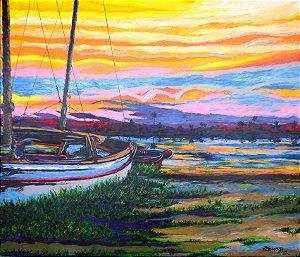 boninto quadro de paisagem pintado a mão 79 x 91 cm
