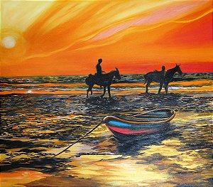 Quadro original para parede decorativo figurativo cavalos na praia