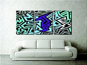 Quadro painel abstrato para decorar sala pintado a mão grande