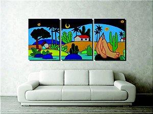 Lindo painel com releitura de quadros de Tarsila para sala pintado a mão