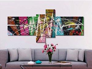Lindo quadro painel decorativo abstrato com 4 peças em mosaico abstrato