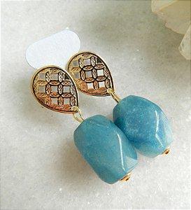 Brinco Pedra Jade Azul