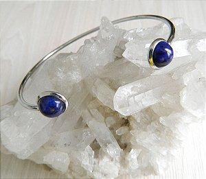 Pulseira Pedra Lápis Lazuli Aço Inoxidável