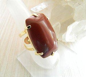 Anel Pedra Jaspe Vermelho