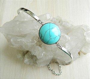 Pulseira Pedra Azul Turquesa Aço Inoxidável
