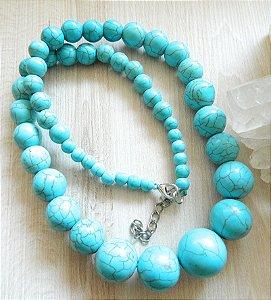 Colar Pedra Azul Turquesa