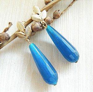 Brinco Pedra Calcedônia Azul