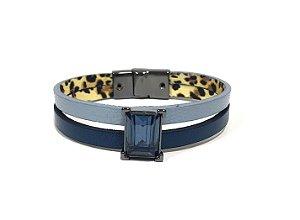 Pulseira Armazem RR Bijoux couro azul e marinho