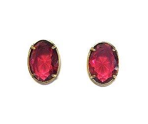 Brinco Armazem RR Bijoux cristal swarovski oval vermelho ouro velho