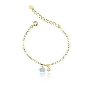 Pulseira Armazem RR Bijoux Infantil coroa azul Folheado a Ouro