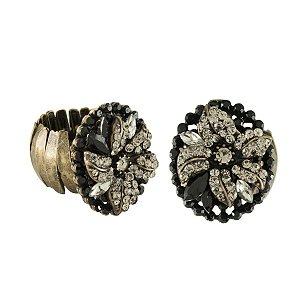 Anel Armazem RR Bijoux flor cristais preto e black diamond ouro velho
