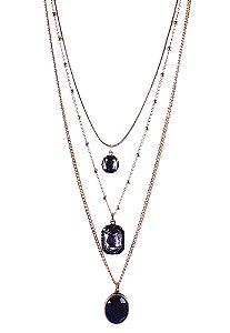 Colar Armazem RR Bijoux triplo cristal com pedra preta dourado