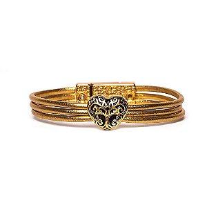 Pulseira couro Armazem RR Bijoux coração dourada