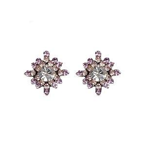 Brinco Armazem RR Bijoux pequeno cristais rose