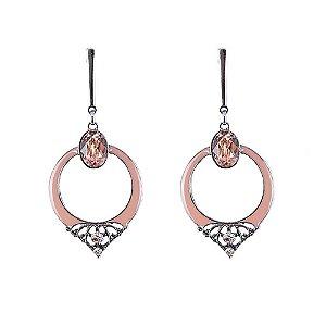 Brinco Armazem RR Bijoux cristal oval rose