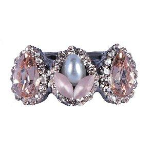 Anel Armazem RR Bijoux mini gotas rose com pérola prata