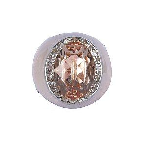 Anel Armazem RR Bijoux resinado pedra rose