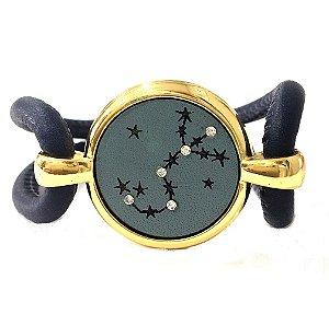 Pulseira Armazem RR Bijoux couro estrela azul marinho