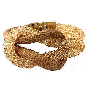 Pulseira Armazem RR Bijoux couro com cristais dourada
