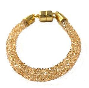 Pulseira Armazem RR Bijoux cristais dourada