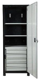 Armário industrial compacto para ferramentas, 05 gavetas e porta em aço ORK-002