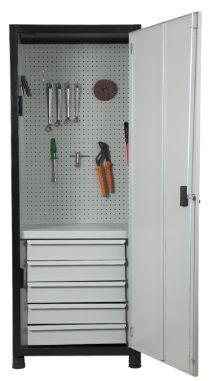 Armário industrial compacto para ferramentas c/ 05 gavetas e painel perfurado, porta em aço ORK-003