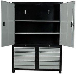 Armário industrial para ferramentas c/ 02 prateleiras, 10 gavetas e porta em aço ORK-022