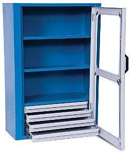 Armário industrial para parede c/ 02 prateleiras e 04 gavetas porta em aço ou acrilico ARM-028/024