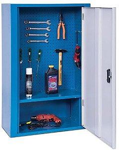Armário industrial para parede c/ painel perfurado e 1 prateleira, porta em aço ou acrilico ARM-026/030