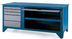 Bancada industrial p/ serviço c/ 05 gavetas e porta retrátil 217ATC CMB