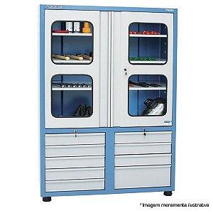 Armário industrial para ferramentas c/ 09 gavetas e 3 prateleiras, porta em vidro AM-70 - MARCON