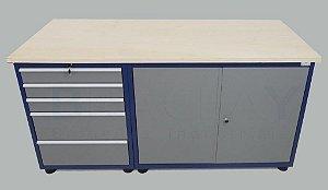 Bancada industrial para serviços c/ 05 gavetas e 02 portas BRA-10133 BRACLAY