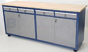 Bancada industrial para serviços c/ 04 gavetas e 04 portas BRA-10128 BRACLAY