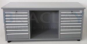 Bancada industrial para serviços c/ 16 gavetas  BRA-10127 BRACLAY