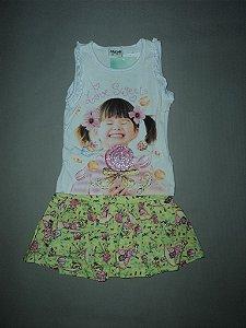 Conjunto Infantil Blusinha e Short Saia Fakini