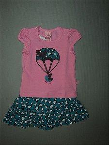 Conjunto Infantil Blusa e Short Saia Clorophila Abrange