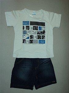 Conjunto Camiseta e Bermuda Jeans Alenicine